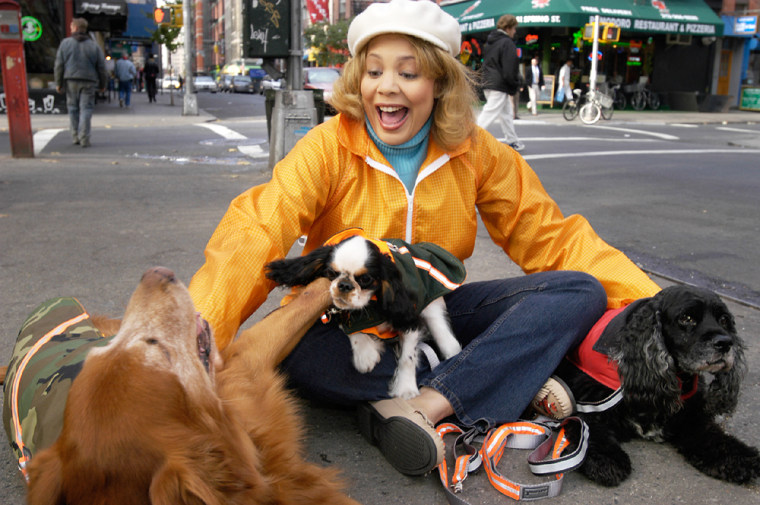 Charlotte Reed,shown here Nov. 11 in Manhattan with dogs Burberry, a golden retriever, Hudson, an English toy spaniel, and Kidder, a black cocker spaniel, ownspet services business Two Dogs& AGoat, Inc.