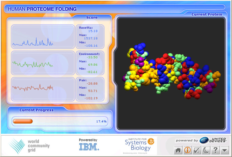 As seen in this screenshot, the World Community Grid's desktop console lets users monitor progress on a protein-folding project, and see a representation of the protein molecule itself.