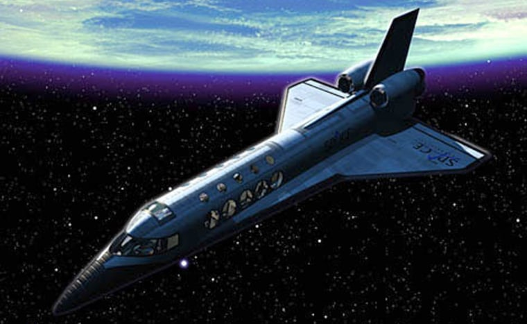 An artist's conception shows a suborbital space vehicle in flight. When will such vehicles go into commercial service, and under what conditions?