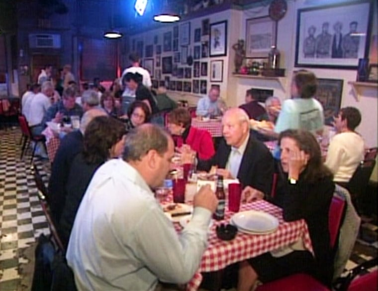 Crowd at Doe's Eat Place, a favorite of former President Bill Clinton,in downtown Little Rock on Wednesday night.