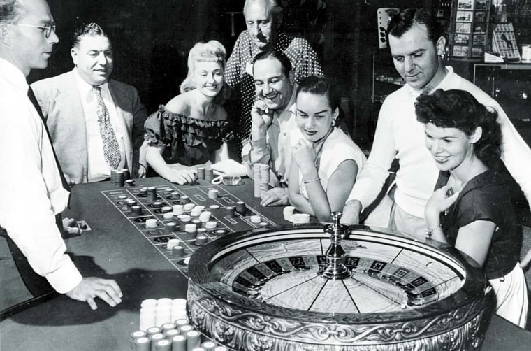 One of the gaming tables at the Flamingo Casino in Las Vegas, 1955