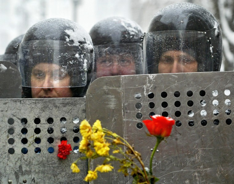 Riot police officers guard the Ukrainian presidential administration building in Kiev on Wednesdaywith flowers inserted into police shields by opposition leader Viktor Yushchenko's supporters.