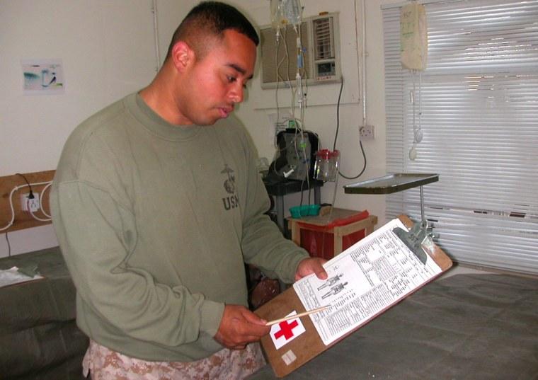 Navy Corpsman Jose Ramirez, 26, of San Antonio, Texas, helped troops injured in the battle for Fallujah.