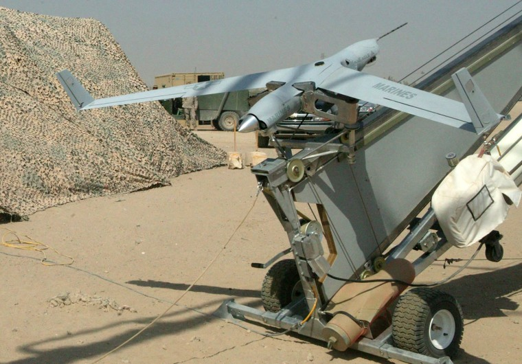 This ScanEagle robotic plane is ready for launch from a catapult. The planes have put in more than 1,000 hours of operation in Iraq.