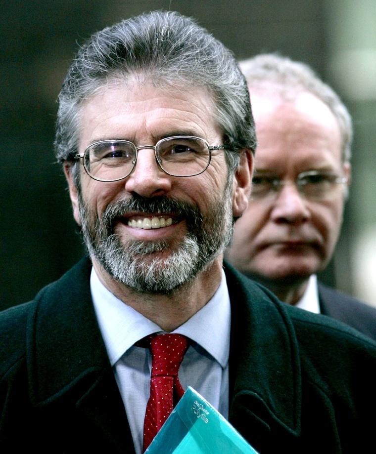 Sinn Fein leader Adams speaks to the media outside 10 Downing Street London