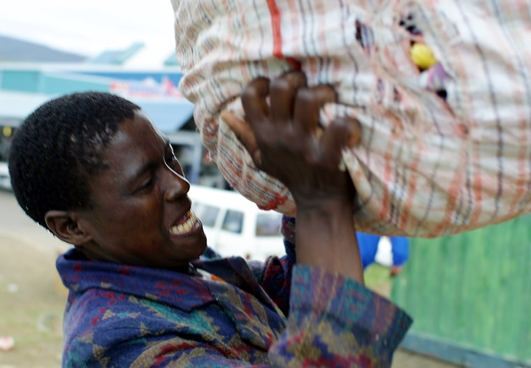 Suffering from full-blown AIDS, Sithombe Malembe is one of the first AIDS sufferers to be included in an antiretroviral drug program.
