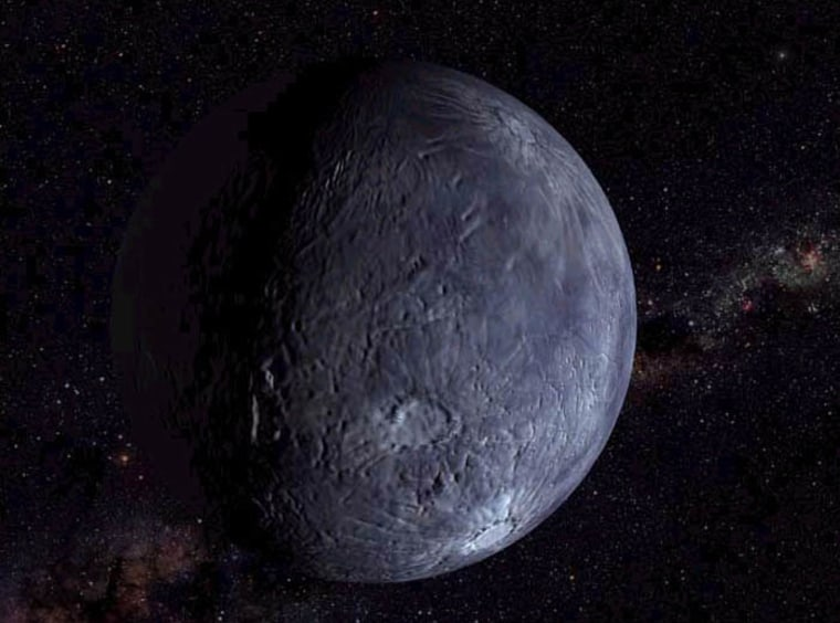 An artist's conception shows what the surface of Quaoar might look like, beyond the orbit of Neptune in a region called the Kuyper Belt.