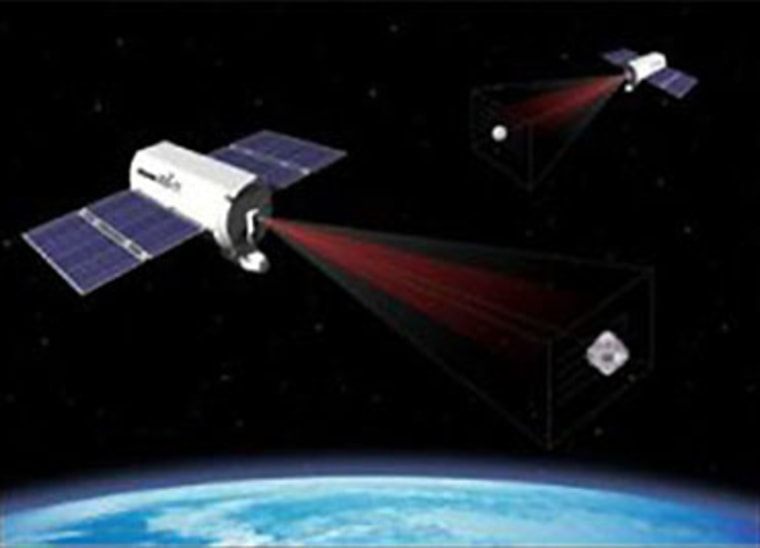 An artist's conception shows military XSS satellites flying in Earth orbit. The XSS program is aimed at developing microsatellites that can rendezvous with other satellites and interact with them — sparking debate over whether they have an offensive purpose.