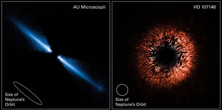 At left, avisible-light image shows a debris disk around the red dwarf star AU Microscopii. At right,a false-color view from Hubble tracesa planetary debris disk encircling the star HD 107146, a yellow dwarf star very similar to our sun. HD 107146 is much younger, however — dated at 30 million to 250 million years old, comparedwith the 5-billion-year age of the sun.