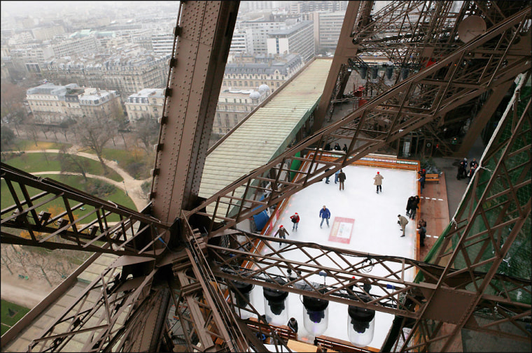 12/10/2004. 12/09/2004. Ice rink on the Eiffel Tower in Paris.