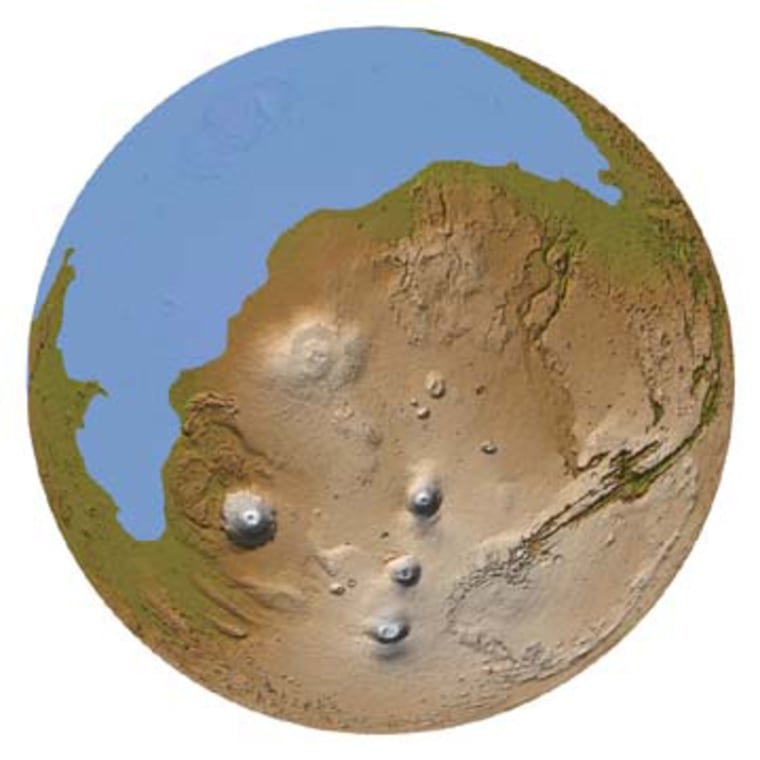 In this topographic portrayal of Mars, the northern lowlands are occupied by a blueocean, with its edges defined by what researchers see as a possible ancient shoreline, based on an analysis of laser altimeter data from Mars Global Surveyor.