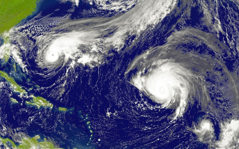 NOAA satellite image shows Hurricanes Jeanne and Karl and Tropical Storm Lisa
