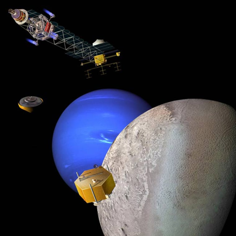 An artist's illustrationshows a nuclear-electric-powered spacecraft at Neptune, where it would release probes into the ice giant's atmosphere. The spacecraft also would send landers down toTriton, the planet's largest moon, which is seen here in the foreground.