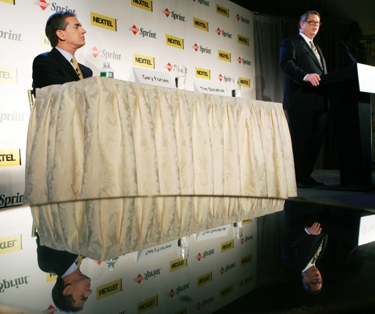 Company officials speak at Sprint Nextel press conference in New York