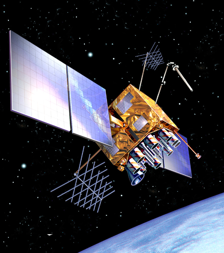An artist's conception shows a Global Positioning System satellite in orbit. The GPS network provides navigational guidance for the U.S. military as well as forhikers and drivers.