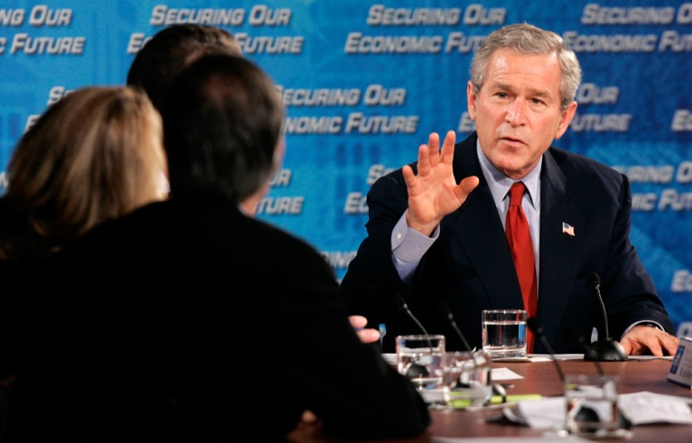 President George W. Bush speaks at the White House Conference on the Economy
