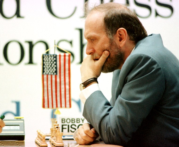 File photo shows former world chess champion Bobby Fischer at September 1992 match against Spassky in  Yugoslav resort of Sveti Stefan