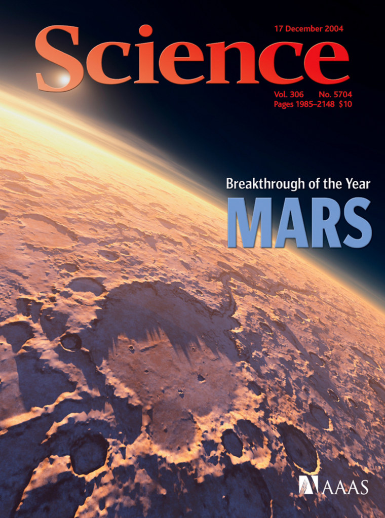 """The cover of the journal Science recognizes the findings about ancient Martian water, sent back by NASA rovers, as the top """"breakthrough of the year."""""""