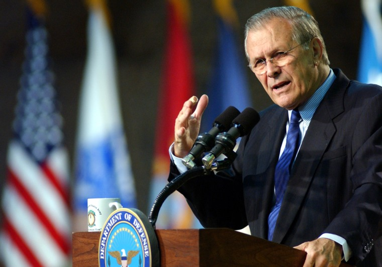 Secretary of Defense Donald Rumsfeld gives a speech to American troops at Camp Buehring, north of Kuwait City earlier this month.