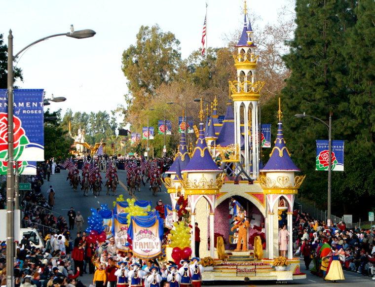 """The Disneyland Park Rose Parade float titled """"The Happiest Celebration on Earth"""" starts the 116th Rose Parade on Saturday in Pasadena, Calif."""