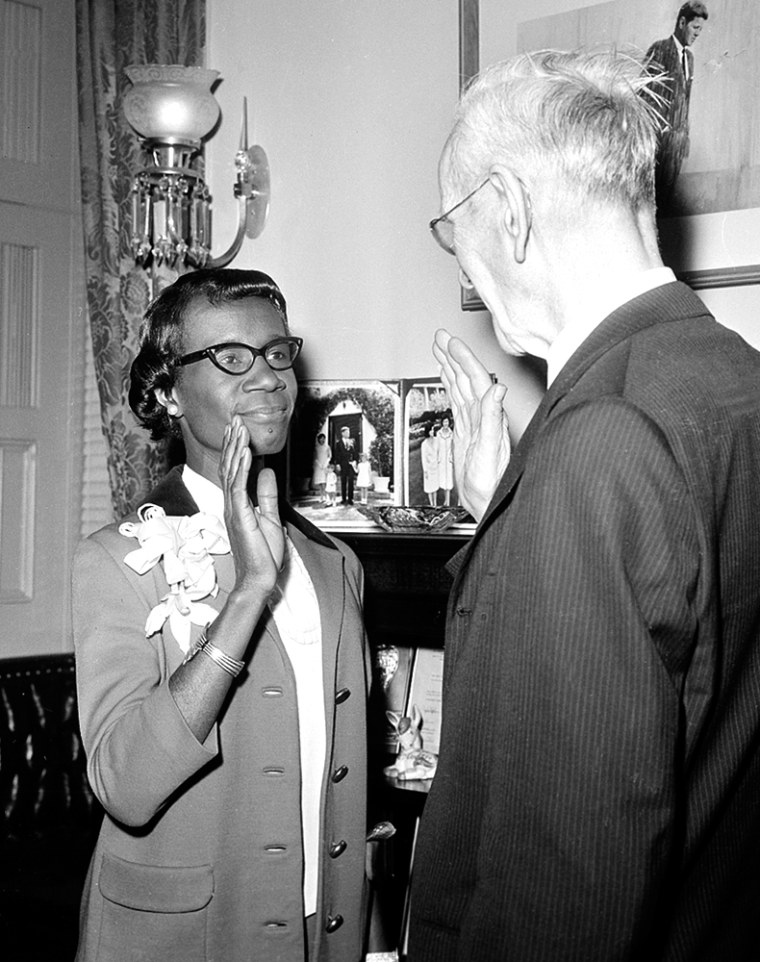 Shirley Chisholm in a 1969 re-enactment of her swearing-in.
