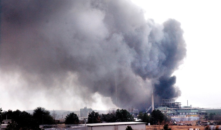 Smoke rises from the Teris plant in El Dorado, Ark., on Sunday after a fire broke out at the plant, which incinerates hazardous waste.