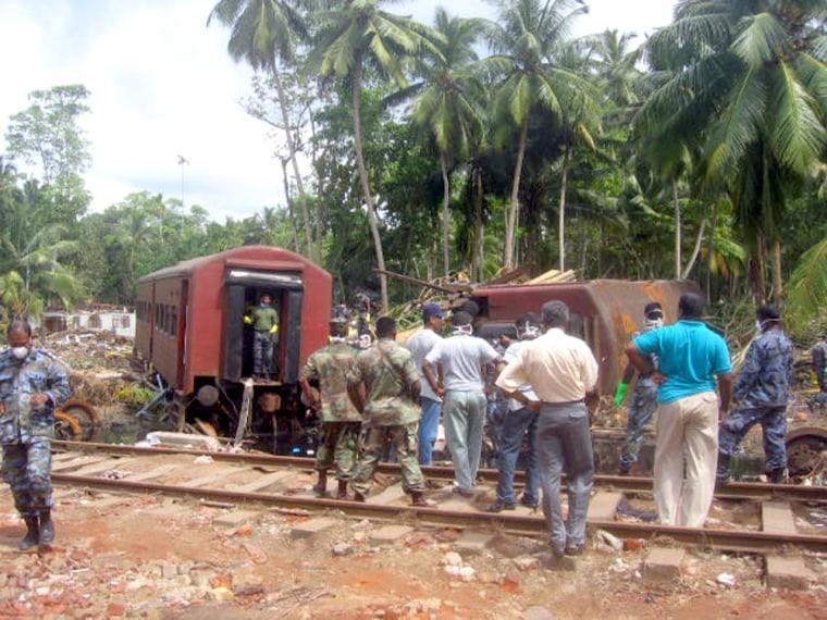 Wreckage of train destroyed when the tsunami struck Hikkaduwa, Sri Lanka and killed at least 802 people.