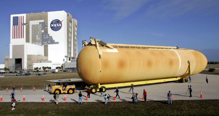 Redesigned pace shuttle external tank arrives at Kennedy Space Center