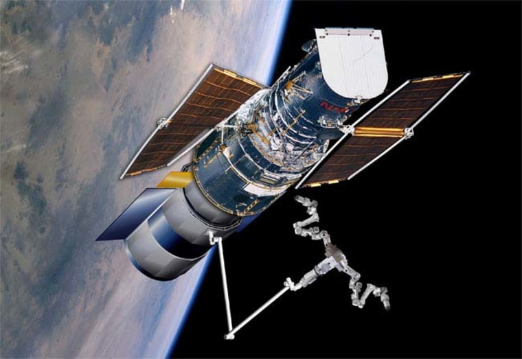 This artist's conception shows the Hubble Space Telescope docked to a module that is equipped with a two-handed robotic arm. More recently, NASA has considered attaching a simpler module that would guide the telescope to its destruction, but now the space agency is considering doing without the module entirely.