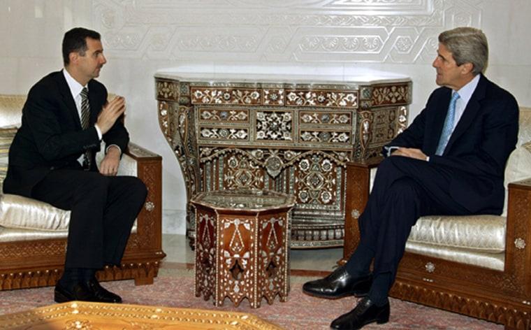 Syrian President Bashar al-Assad and U.S. Senator John Kerry meet for talks in Damascus