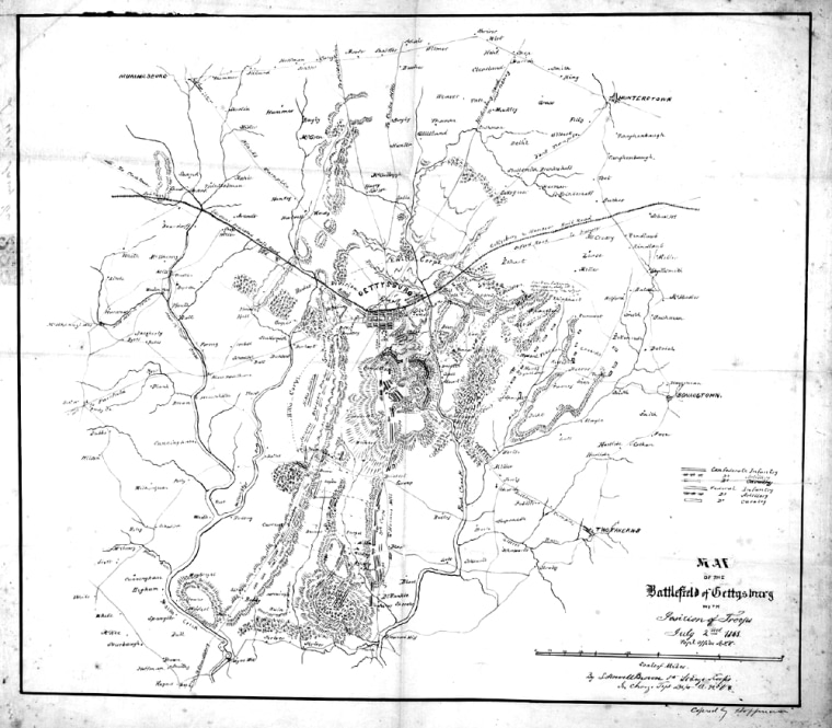 Image provided by the National Archives shows a map of the Battle of Gettysburg sent by Gen. Robert E. Lee to Confederate President Jefferson Davis.