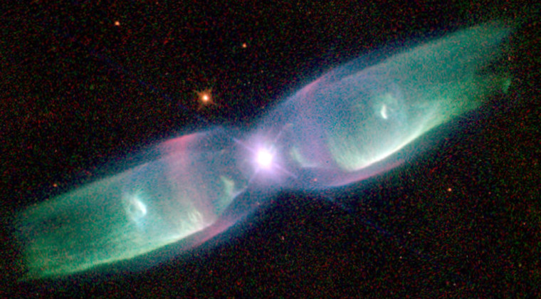 The Butterfly Nebula, shown in this Hubble Space Telescope picture, is among the best examples of a bipolar planetary nebula — in which shells of colorful gas are shot out in two directions from a dying star.