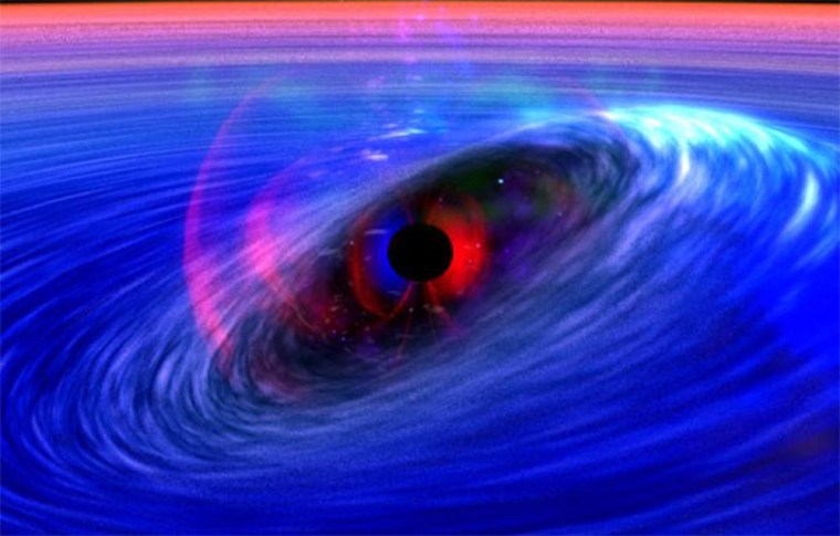 This artist's conception shows a galactic black hole being orbited by a ripple in space-time — a distortion in the fabric of space itself.