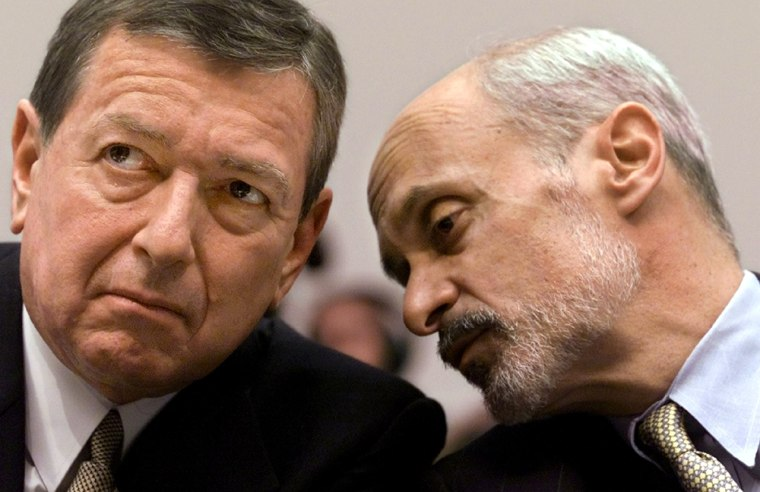 File photo of Attorney General Ashcroft with Homeland Security nominee Chertoff
