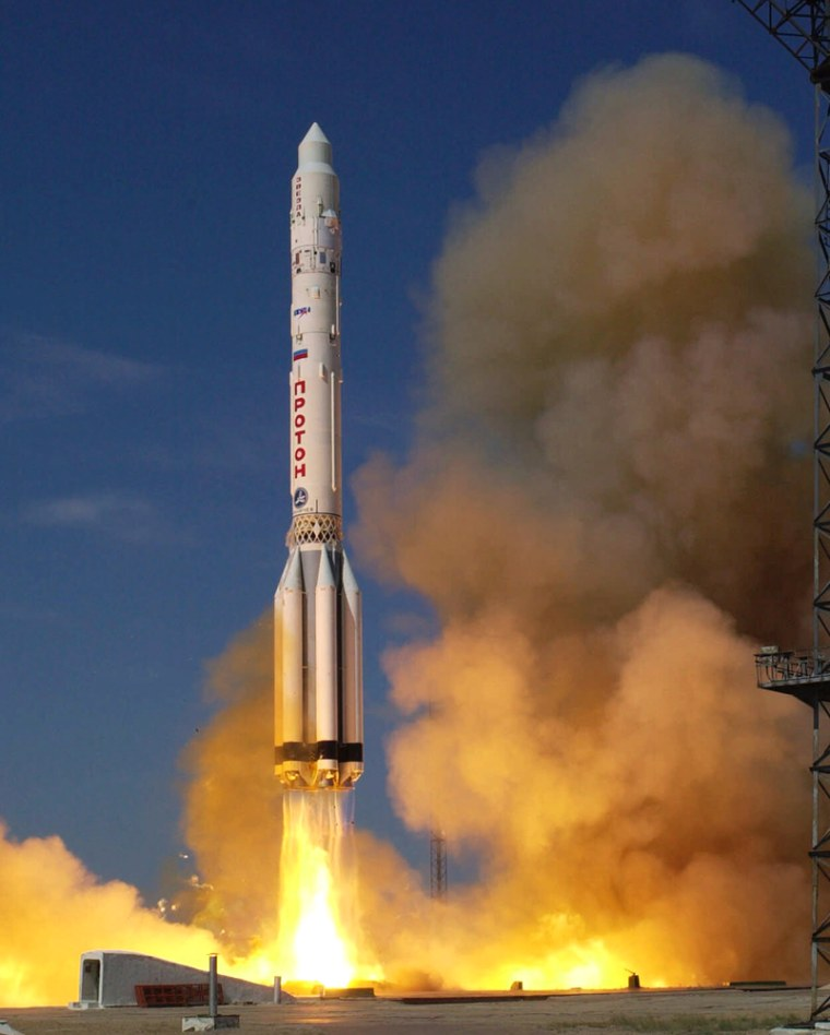 A Russian-built Proton rocket lifts off from the Baikonur Cosmodrome in July 2000, carrying the Zvezda service module for the international space station.