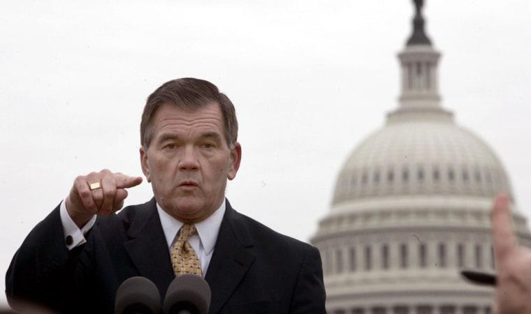 Secretary of Homeland Security Tom Ridge fields a question near the Capitol Building in Washington