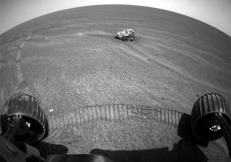 Scientists are puzzling over this object found at Opportunity's exploration site within Meridiani Planum.