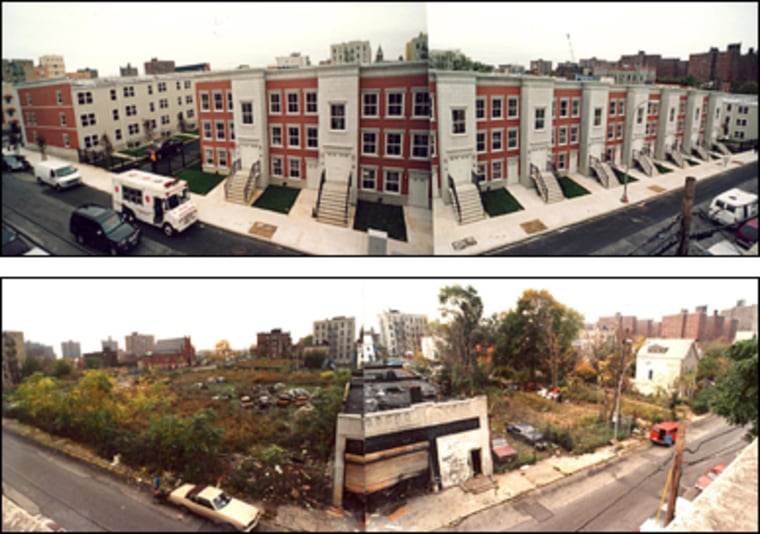 The revitalization of the South Bronx is graphically shown in this photo of a lot in the Melrose area in 1994 (below) and again in 2002.