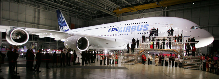 Planemaker Airbus unveils their new Airbus A380 double-decker in Toulouse