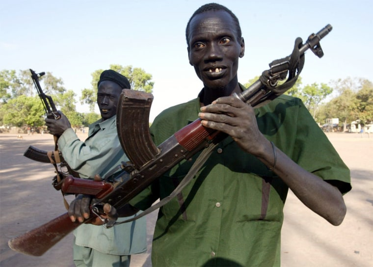 Members of the New Sudan Police practice a drill Tuesday, in Rumbek, southern Sudan.