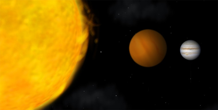 An artist's conception shows comparative sizes of our sun at left, a brown dwarf in the middle, and Jupiter at right. New findings suggest that some of the presumed planets orbiting other stars may actually be more massive and more like brown dwarfs, also known as failed stars.