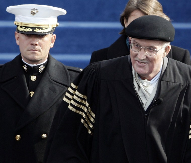 Chief Justice William Rehnquist arrives for the swearing-in ceremonyof President Bush at the Capitol on Thursday.