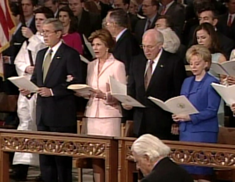 President Bush; his wife, Laura Bush; Vice President Dick Cheney; and his wife, Lynne Cheney, were joined by 3,200 guests Friday for the traditional inauguration service at the National Cathedral in Washington.