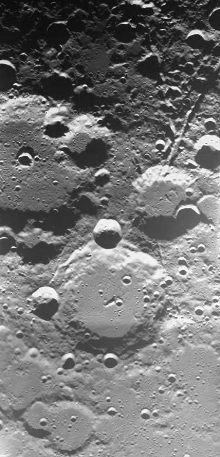 ThisSMART-1 imageshows the area around two large lunar craters. The larger crater, called Brianchon (middle left), is situated at 75 degreesnorth and 86 degrees west. The second one is called Pascal (middle bottom), at 74 degrees north and 70 degrees west.