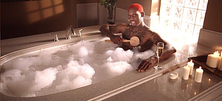 Retired basketball star Dennis Rodman stars in an ad for Silestone quartz surfacing.