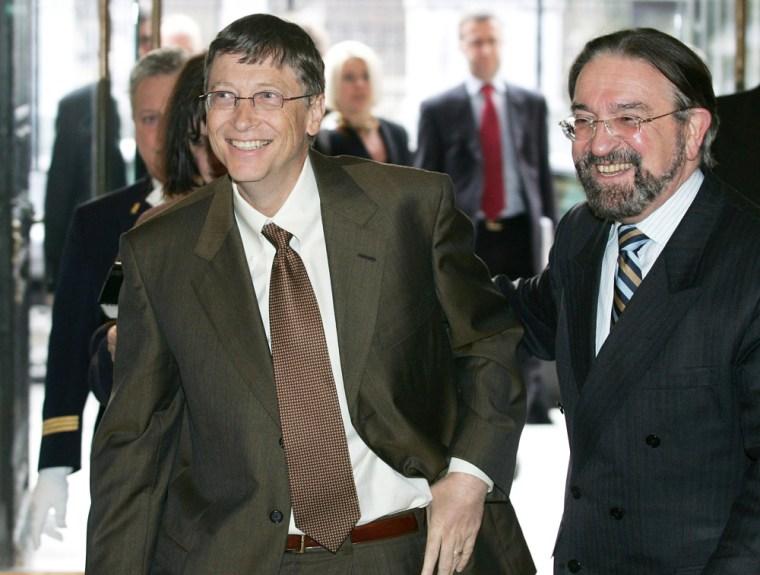 Microsoft Chairman Gates is welcomed by Belgian Lower House President De Croo in Brussels