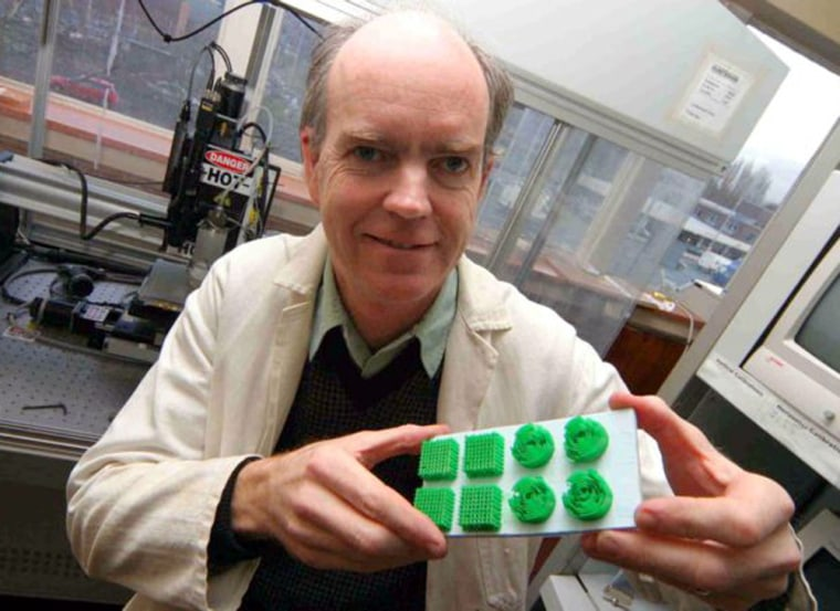 The University of Manchester's Brian Derby holds magnified tissue scaffolds that new skin would grow on. The actual scaffolds have cell sizes of 3 millimeters and would be clear instead of green. Derby and his team are experimenting with different scaffold shapes.