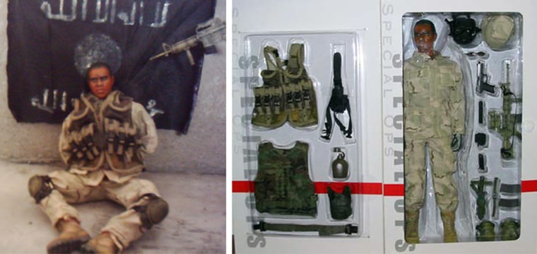 """Theimage at left, purporting to show a kidnapped U.S. soldier,was posted on an Iraqi militant Web siteTuesday. At right isan image provided by toy manufacturer Dragon Models USA of an action figure named """"Cody"""" in a box that company officials say matches the figure in the Web site photo."""