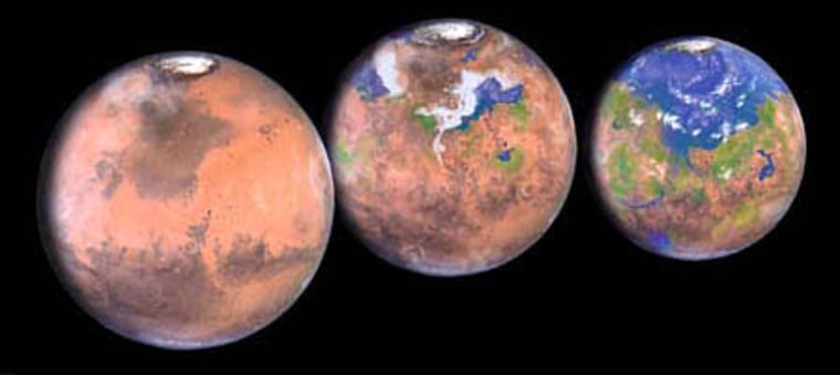 An artist's conception shows Mars as it looks today and at two stages of a hypothetical terraforming process, which could take hundreds of years.