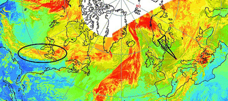 Combined imagery from GOES-EAST and theMETEOSAT infrared satellitetracks the movement of a pollutant plumefrom North America to Europe on Nov. 19, 2001. The black triangle shows the flight pattern of the research team's research plane. The black ellipse shows the origin of the plume.
